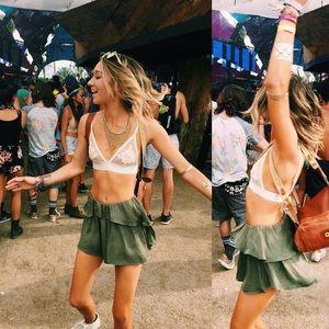 Olive green cloth shorts
